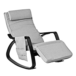 41aszN8visL. SS300  - SoBuy® New Relax Rocking Chair Lounge Chair with Adjustable Footrest and Removable Side Bag, FST20-HG