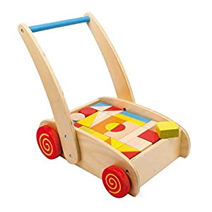 Wooden Trundle Truck - Training Walker with toy blocks