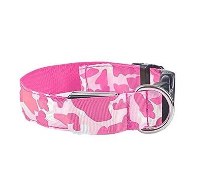 Nikgic LED Halsbänder Hunde Leuchthalsband Verstellbares Tarnung Hundehalsband LED Halsband Halsung Haustier Kragen Halsband