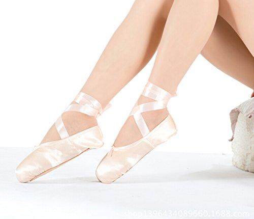 Gaorui Mädchen Damen Ballettschuhe Ballettschläppchen aus Satin spitzenschuh Tanzschuhe Rosa Rot Rot