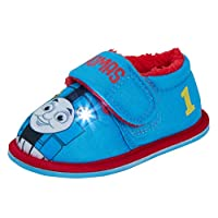 Thomas The Tank Engine Boys Light Up Slippers Kids Fur Lined Flashing Lights House Shoes Booties