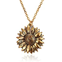 CXIANG Fashion Sunflower Double-Layer Engraved Pendant Necklaces For Women Round Open Gold Long Chain Charm Necklace Women Jewelry