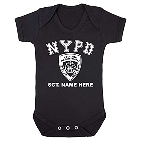 Purple Penguin Clothing Baby Grow - NYPD Poo-lice Personalised with Baby's Name - Black - White Print 0-3 Months