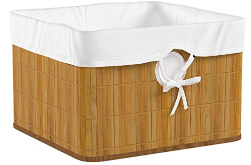 Relaxdays Aufbewahrungskorb Bambus H x B x T: ca. 20 x 31 x 31 cm Regalkorb für Regal und Schrank mit abnehmbarem Stoffbezug als dekorative Aufbewahrungsbox mit Griff und Stauraum zum Falten, natur