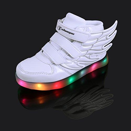 LED Chaussures,Angin-Tech Ange Série Led Chaussure 7 Couleurs USB Rechargeable Clignotant Chaussures Basket Lumineuse de Garçon et Fille pour Noël Halloween avec CE Certificat Blanc