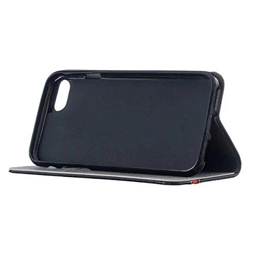 JIALUN-Telefon Fall iPhone 7 Hülle, Mischfarbe Premium PU Ledertasche Brieftasche Stand Case Flip Ständer Schutzhülle für iPhone 7 ( Color : Dark Blue , Size : IPhone 7 ) Black