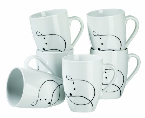MÄSER Serie Chanson, Kaffeebecher, große Porzellan Tassen im 6-er Set