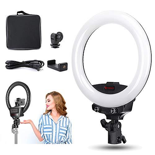 Ring Light, Moman 10'' LED Anneau Lumineux, 192 LEDs Lumière Dimmable, 3200-5600K, Kit Éclairage pour Studio Vidéo Photographie Selfie Portrait pour Caméra/Smartphone, avec Sac de Support pour Phone