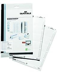 Durable 145502 Badgemaker Insertions 54 x 90 mm sur Planche A4 Imprimable - 10 Insertions par Planche - PEFC - Boîte de 20 Planches/200 Insertions