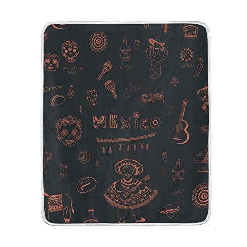 Buyxbn Manta Símbolos de México Suave cálido Acogedor sofá Cama Manta para...