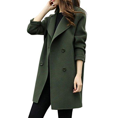 Donne-mondo donna lunga cappotto autunno lungo cappotto eleganti giacche manica lunga cardigan cappotto parka outwear, donna eleganti trench cappotto, cappotto di lana donna (esercito verde, xl)
