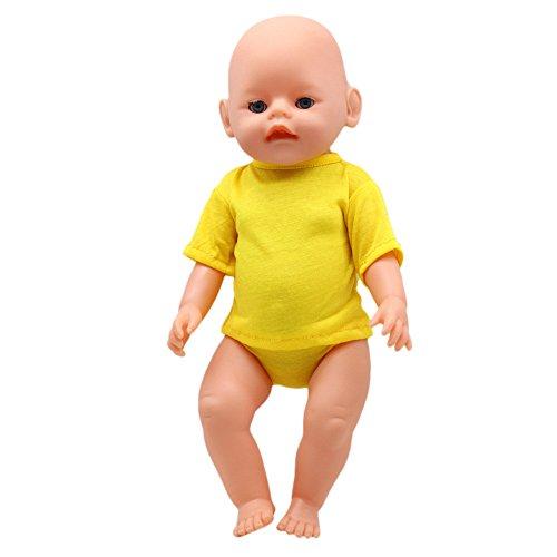 TianranRT Amerikanisch Puppe Dressing Hemd Puppen Körperfest T-Shirt Und Slips Set Für 18 Zoll Amerikanisch Mädchen Puppe (Gelb)