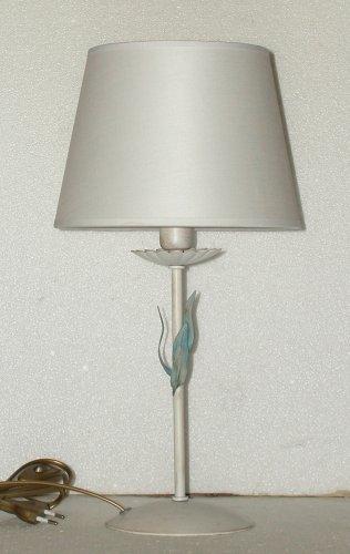 Idea casa: Lampada da tavolo PRODUZIONE PROPRIA (made in Italy) base in Ferro Decorato (colori assortiti) Paralume INCLUSO. Altezza 43cm