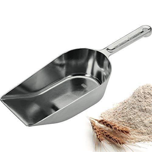 Westmark Abwiege-/Abfüll-/Futter-/Sackschaufel mit hochgestellter Kante, Füllvolumen: 650 ml (ca. 575 g Mehl), Aluminium, Hygia, Silber, 91712291