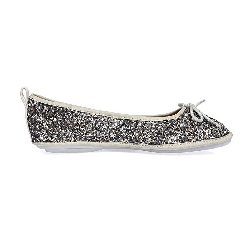 VogueZone009 Damen Ziehen Auf Ohne Absatz Pailletten Rein Rund Zehe Flache Schuhe Silber