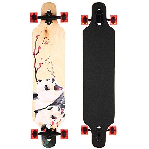 begorey Longboard Anfänger Skateboard Komplettboard Drop Down Street, 103 x 22 cm (Panda)