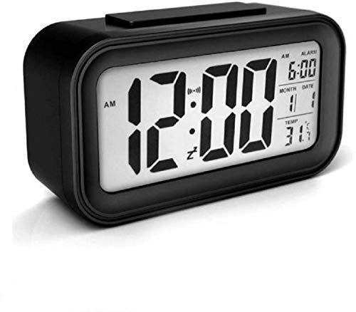 WT Digital Smart Backlight Alarm Clock with Automatic Sensor,Date & Temperature, Alarm Clock For Heavy Sleepers, Alarm Clock For Students, Digital Alarm Clock For Home, Alarm Clock For Bedroom (Black)