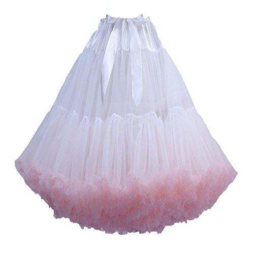 FOLOBE adulti lussuosa Tutu Petticoat Costume Balletto di ballo multi-strato morbido chiffon sottogonna in tulle tutu delle donne Gonna Gonna Puffy whitepink
