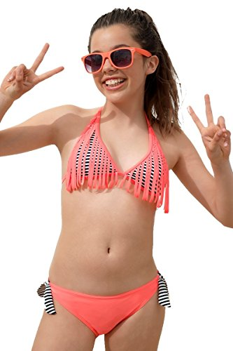 Boobs & Bloomers Triangle bikini fringes, 38.60.3059, M, , Stripe print Black (Triangle Print Bikini)