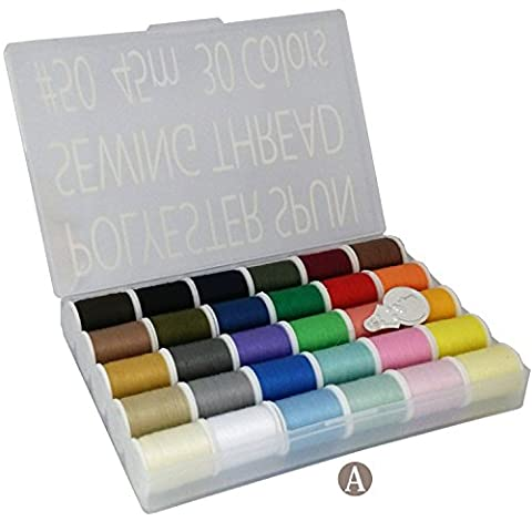 LEONIS 30 Color 50 Yards/45 m Each Handy Polyester Sewing Threads Kit [ 93011 ]