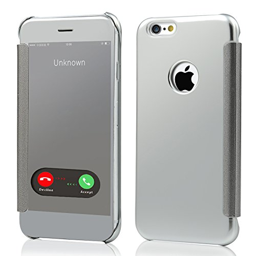 ZSTVIVA Custodia PU Pelle per iPhone 6 Plus/6S Plus 5.5 pollice specchio design Vista Clara Wallet Stile Case protettrice - argento