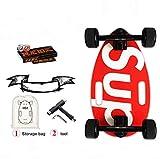 Mini Patinetas Longboard Cruiser- Pizarra pequeña para Adultos y niños, con Cubierta de patineta Ancha de 17.5 Pulgadas, longboards para Principiantes y Profesionales (Rojo)