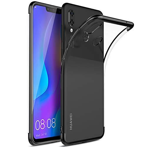 Kugi Funda Huawei P Smart Plus,Huawei P Smart Plus TPU Transparente Slim Silicona Case Cover [Anti-Arañazos] para Huawei P Smart Plus(Negro)