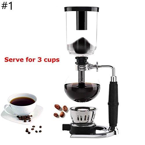 Coffee Master 3/5 Tassen Siphon/Vakuum-Glas Kaffeemaschine, Organic Cafe Maker Kit 5-cups coffee maker - Kaffeemaschine Glas Vakuum