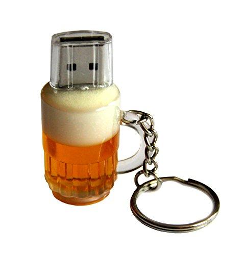 Preisvergleich Produktbild usb Spaß Schlüssel Flash-Laufwerk Memory Stick 16G Bier Krug gold weiß