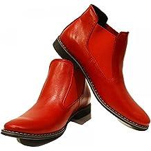 PeppeShoes Modello Rosso - Handgemachtes Italienisch Leder Herren Rot  Stiefeletten Chelsea Stiefel - Rindsleder Weiches Leder