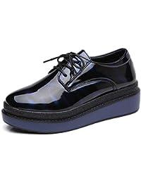 Zapatos De Plataforma Plana para Mujer Brogue Charol Lace Up Round Toe Creepers Cruzados Flat Ladies