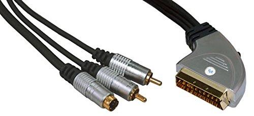 DIGITUS 07641. Kabel Scart Video-Audio, Stecker 21-polig männlich, SVHS 4Polig und 2x Cinch, 1.50m 2 X S-video