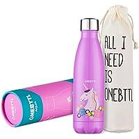 Onebttl Unicornio Botella Agua Acero Inoxidable niños, Cosas de Unicornios para niñas cumpleaños y Fiesta Destello, cantimplora Infantil niña 500ml Aqua