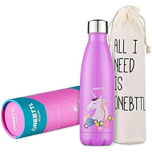 unicornios kawaii Unicornio Regalo, Unicornio Rosa, Unicornio Kawaii, Cosas de Unicornios, Botella para Agua con Unicornio, para cumpleaños, niños, Botella Para Agua de Acero Inoxidable(500ml)--Onebttl Aqua
