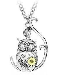 4cbe233692 COLUDOR Steampunk Gear Bee Butterfly Owl Animal Shape Collane Gioielli  gotici vintage