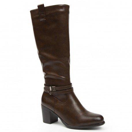 Ideal Shoes - Bottes en similicuir avec doubles ceinturons Calysta Marron