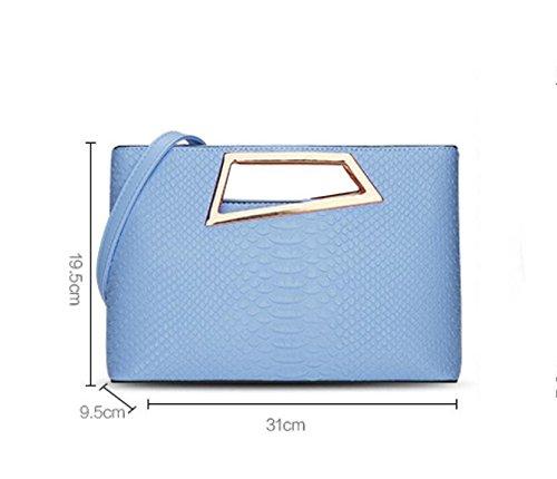 HQYSS Damen-handtaschen Frauen PU-lederner Geschäfts-Schulter-Kurier-Handtaschen-Normallack-leichte Crossbody Beutel-justierbare abnehmbare Einkaufstasche days blue