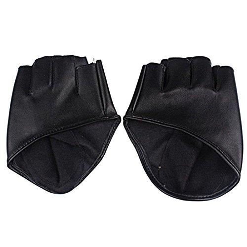 Fahion Damen Lederhandschuhe Half Finger Dancing Female Glove Zubehör-Schwarz