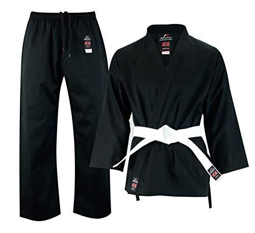 Malino Student Karate Gi, Anzug, Kinder und Erwachsene Männer einheitliche Poly Baumwolle 7oz freien Gürtel (3/160, Schwarz) -