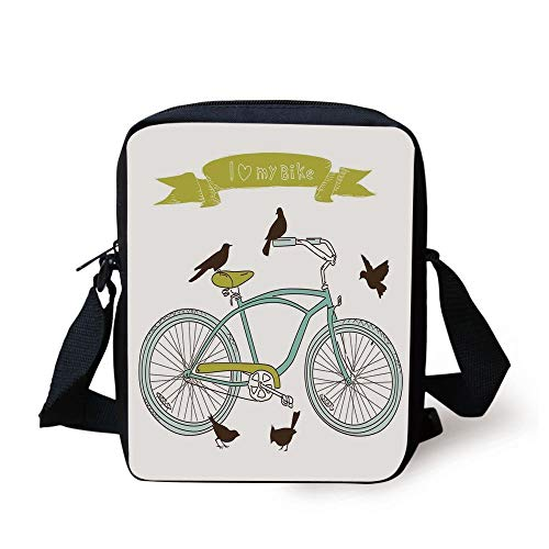 ZKHTO Bicycle,I Love My Bike Concept with Birds on the Seat Cruisers Basic Vehicle Simplistic Art,Green Blue Print Kids Crossbody Messenger Bag Purse -