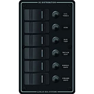 Blue Sea Systems Water Resistant 6 Position Circuit Breaker Panel, Black by Blue Sea Systems