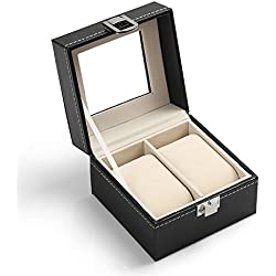 Generic 2 Watch Display Box Case Faux Leather