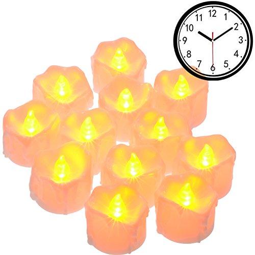 Pchero 12-pack tealight led a batteria con timer, dripping effect e fiamma tremolante - 6 ore su, 18 ore fuori [giallo]