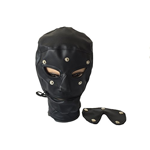 Raycity Full Face Abdeckung Maske Kostüm Party Leder Gimp Spielzeug Kopf Harness Hood Maske Bondage Fetisch Halloween