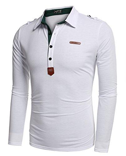 Aulei Poloshirt Herren Hemd Slim Fit Langarm Elegante Stil Männer Freizeit Haushemd Weiß