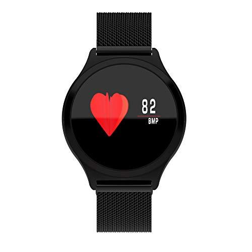 Smartwatch, Winnes Bunten Touchscreen Smart Uhr Sport HR Fitness Tracker mit Blutdruckmonitor Ruft Benachrichtigungen an für iOS Android Y7 Stahlband (Schwarz) -