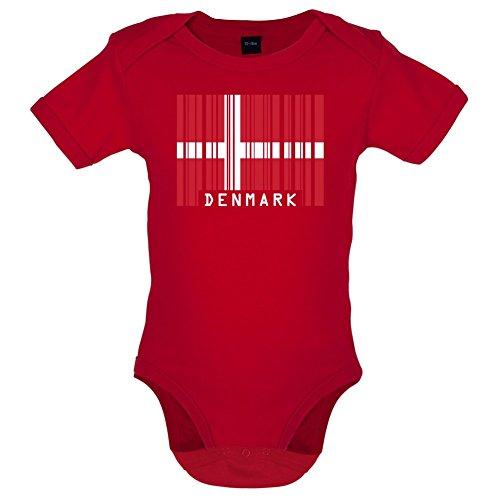 Denmark / Dänemark Barcode Flagge - Lustiger Baby-Body - Rot - 3 bis 6 Monate