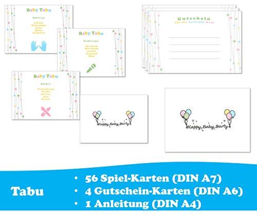 Babyparty Spiel Tabu Activity - Spiele-Set für ca. 6-8 Spieler in Deutsch (ideal als Idee und Spiel für die Babyparty / Baby Welcome Party / Baby Shower Party) neutral für Jungen und Mädchen