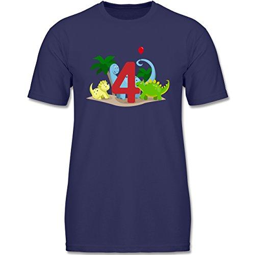 Shirtracer Geburtstag Kind - 4. Geburtstag Dinos - 116 (5-6 Jahre) - Navy Blau - F140K - Jungen T-Shirt (Dinosaurier-jungen-t-shirt)