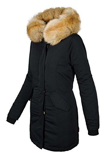 Marikoo Damen Winter Jacke Parka Mantel Winterjacke warm gefüttert B362 [B362-Karmaa-Schwarz-Gr.XL]
